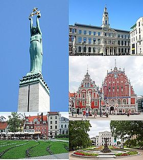 From top, left to right: the Freedom Monument, the Riga City Council building, the House of the Blackheads, Līvu Square, and the Latvian National Opera