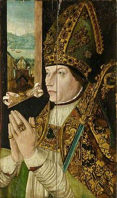 A colour painting of a man with a bishop's mitre and crook praying, with a window in the background