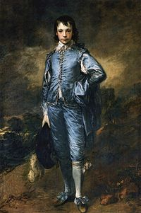 A painting of a youth wearing blue.