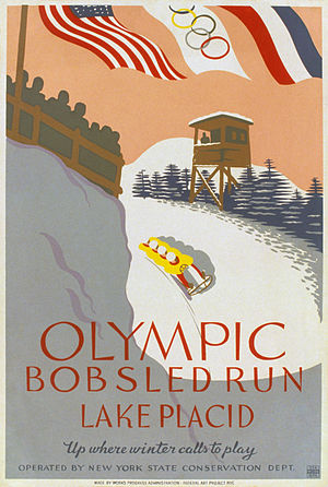 "A stylized image shows a four-man bobled running the bobsled track, with an observation tower and spectator viewing area on either side. At the top of the image are the flags of the United States, the Olympic movement, and France, and the bottom of the poster reads, ""Olympic Bobsled Run Lake Placid, Up where winter calls to play, Operated by New York State Conservation Dept."""