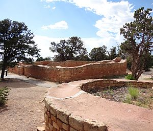 A color picture of a large sandstone ruin