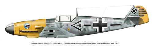 A fighter aircraft, shown in profile, viewed from the left. The aircraft is grey, with predominantly yellow nose and a yellow rudder at the rear. Decorations include black lines, black-and-white crosses on the body and on top of the wing, and a black swastika on the tail; the yellow rudder bears approximately 70 small vertical black lines arranged in five blocks of varying length.