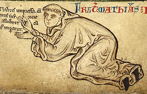 A medieval sketch of Matthew Paris, dressed as a monk and on his hands and knees.