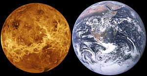 Venus, without its atmosphere, is placed side by side with Earth. They are nearly the same size, though Venus is slightly smaller.