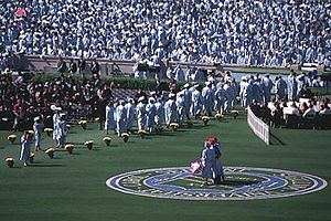 A bunch of people standing with cap and gowns while two people stand on a grass field.