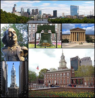 From top left, the Philadelphia skyline, a statue of Benjamin Franklin, the Liberty Bell, the Philadelphia Museum of Art, Philadelphia City Hall, and Independence Hall