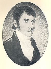 Head and shoulders oval portrait of a serious and dignified man in his thirties or forties, with dark hair, clean shaven wearing a cravat.