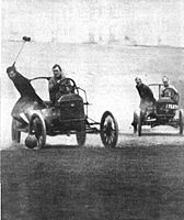 Auto poloists chase each other down the field in a 1913 photograph by Collier's Magazine