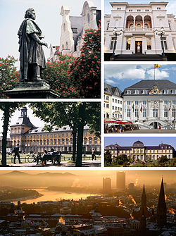 Beethoven Monument, Villa Hammerschmidt, Old City Hall, Poppelsdorf Palace, panoramic view over Bonn and the Electoral Palace, now seat of the University of Bonn (clockwise from top left).