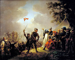 painting 1219 Battle of Lyndanisse with knights motioning to Danish flag in the sky
