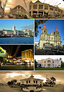 From top, left to right: Calle Real (Royal Street) – Iloilo's historic city center,  The Customs House of Iloilo (Casa de Aduana de Iloilo) and Muelle Loney (Loney Dock), Saint Anne Church of Molo (Iglesia de Sta. Ana)   , Smallville Commercial Complex in Mandurriao District, Nelly Garden, and the Arroyo Fountain (Fuente Arroyo) and   (Casa Real de Iloilo)  Iloilo Royal House - The old provincial capitol