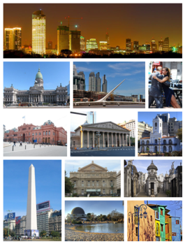 From the top, left to right: Central Business District skyline, the Palace of the Argentine National Congress, Puente de la Mujer, Tango dancers in San Telmo, Casa Rosada, the Metropolitan Cathedral, Cabildo, the Obelisco, Teatro Colón, La Recoleta Cemetery, the Planetario within Parque Tres de Febrero, and Caminito.