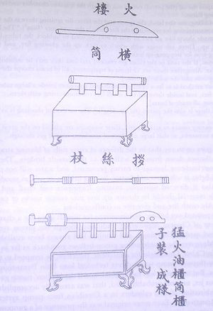 An ink on paper diagram of a flametrhower. It consists of a tube with multiple chambers mounted on top of a wooden box with four legs. How exactly the flamethrower would work is not apparent from the diagram alone.