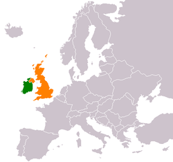 Map indicating locations of Ireland and United Kingdom