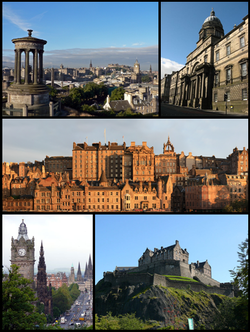 Clockwise from top-left: View from Calton Hill, Old College, Old Town from Princes Street, Edinburgh Castle, Princes Street from Calton Hill
