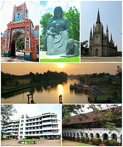 Clockwise from top: Seematti Round, Immaculate Heart of Mary Cathedral, Kottayam Medical College, CMS College, Thirunakkara Maidan