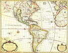 Antique map of the Americas, also showi; background-color:#A0522D;""