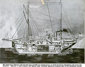 Drawing of Quest with side removed to show interior organisations of the ship's cabins and compartments.