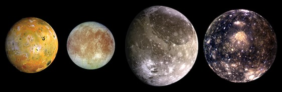 The Galilean moons. From left to right, in order of increasing distance from Jupiter: Io, Europa, Ganymede, Callisto.