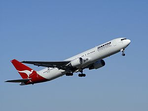 Boeing 767 branded with Qantas