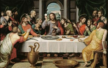 A depiction of the Last Supper. Jesus sits in the center, his apostles gathered around on either side of him.