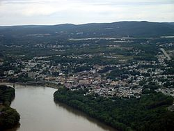 Pittston City aerial view looking northeast.