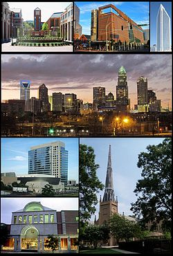 Clockwise: UNC Charlotte, Harvey B. Gantt Center for African-American Arts + Culture, Duke Energy Center, Charlotte's skyline, First Presbyterian Church of Charlotte, Charlotte Main Library and NASCAR Hall of Fame building