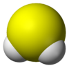 Spacefill model of hydrogen sulfide