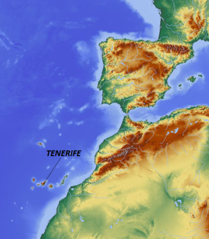Map showing location of Tenerife