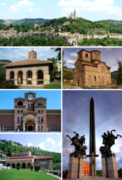 Collage of views of Veliko Tarnovo, Top:View of Tsarevets Fortress, Middle left:Saint Peter and Paul Church, Middle right:Saint Demetrius church, Bottom upper left:Boris Denev Art Gallery, Bottom lower left:Saint Forty Martyrs Church, Bottom right:The monument of the Assens