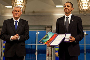 Barack Obama with Thorbjørn Jagland