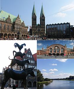 Top: Bremen town hall, St. Peter's Cathedral, and parliament  Left: The Bremen Town Musicians statue.  Upper right: Main station (Hauptbahnhof) in Bremen.Lower right: Werdersee