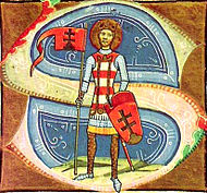 A standing man with a halo around his head who bears a coat-of-arms and a flag, both depicting double crosses