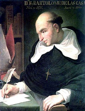 Painting of a balding man sitting at a desk and writing with a quill. He wears a dark religious robe and with a white hood and white undersleeves, and a crucifix pendant and is looking down at the three sheets of paper in front of him. His left hand is resting on an armrest.