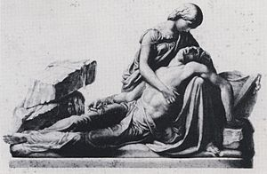 Neoclassical pieta of a woman holding a man's body in her lap.