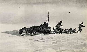 A loaded sledge being pulled across an icy surface by two figures and a team of dogs