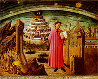 Dante shown holding a copy of the Divine Comedy, next to the entrance to Hell, the seven terraces of Mount Purgatory and the city of Florence, with the spheres of Heaven above, in a fresco by Domenico di Michelino