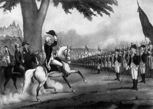 Engraving of a uniformed man on a white horse lifting his hat as the horse moves towards a line of soldiers