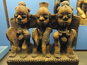 An image of a pottery piece depicting three people seated representing the Igbo deity Ifejioku