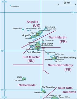 Map showing location of Saba relative to Sint Eustatius and Saint Martin.