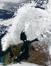 Snow cover across Scandinavia, as imaged by MODIS on board NASA's Terra satellite in 2002