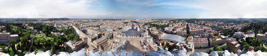 360-degree view from the dome of St. Peter's Basilica, looking over the Vatican's Saint Peter's Square (centre) and out into Rome, showing Vatican City in all directions.
