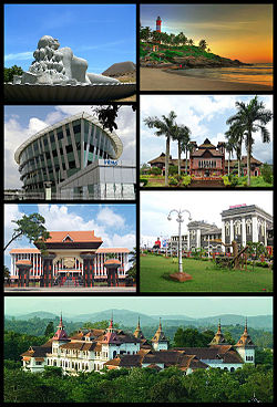 Clockwise from top right: Kovalam Beach, Napier Museum, Trivandrum Central, Kowdiar Palace, Niyamasabha Mandiram, Infosys Building, The Sculpture of Jalakanyaka Mermaid