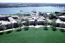 Aerial view of Washington Parade field and campus