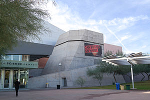 photo of the entrance to the Arizona Science Center, showing the modern design of the building