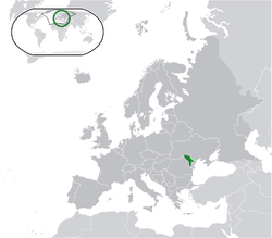 Location of Moldova (green) andTransnistria (light green) in Europe.