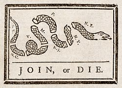 """Join, or Die"" by Benjamin Franklin was recycled to encourage the former colonies to unite against British rule"