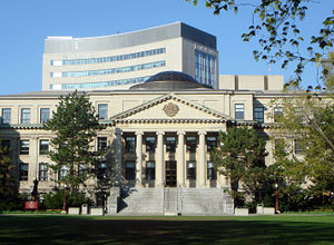 Tabaret Hall in the foreground, with Desmarais building in the background, at the University of Ottawa